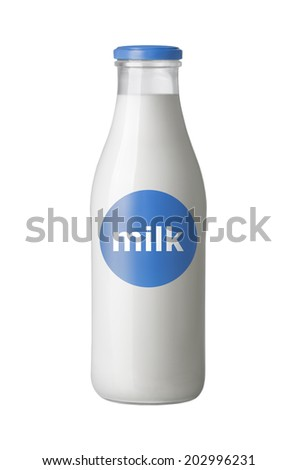 milk bottle with label isolated on white background - stock photo
