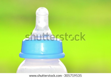 Milk bottles with copy space for text - stock photo