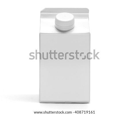 Milk box front view mockup. 500 ml white clear empty box with gable for drinks, with original shadow. Isolated on white without clipping path. - stock photo