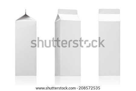 Milk box or juice box carton packages Blank White. Paper cardboard brick package for beverage diary products. Ready for your design. Packaging collection - Realistic photo image - stock photo