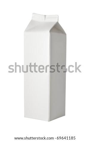 Milk Box per liter, isolated on white - stock photo