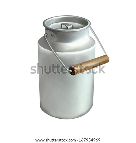 milk can isolated on white background - stock photo