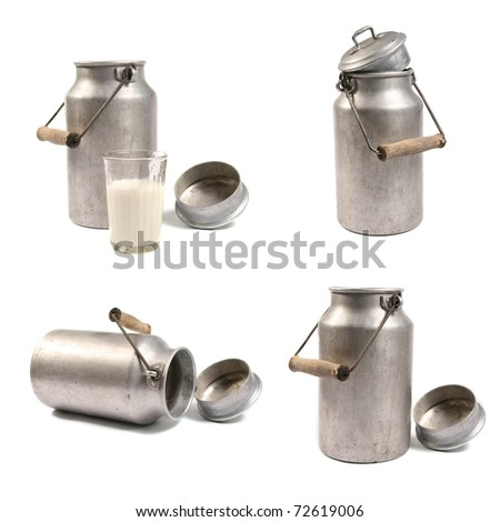 milk cans - stock photo