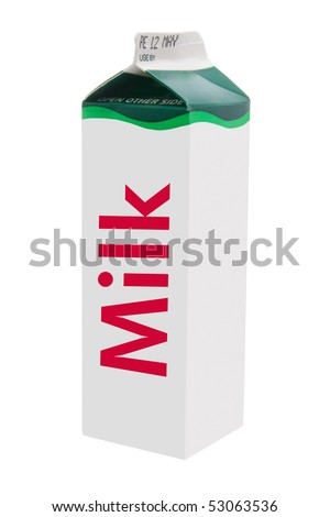 Milk Carton on White Background - stock photo