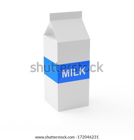 Milk Carton Package on white background - stock photo