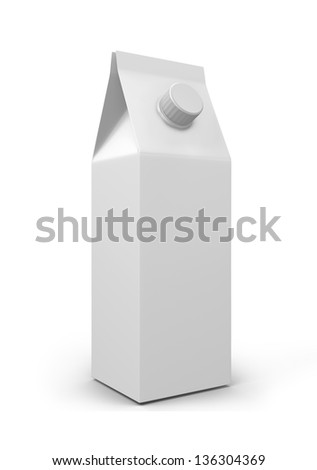 Milk Carton Packages Blank White, 3d - stock photo