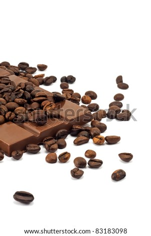 milk chocolate bar and coffee beans on white background - stock photo