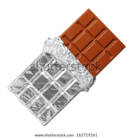 Milk chocolate bar in silver foil, half opened, isolated on white - stock photo