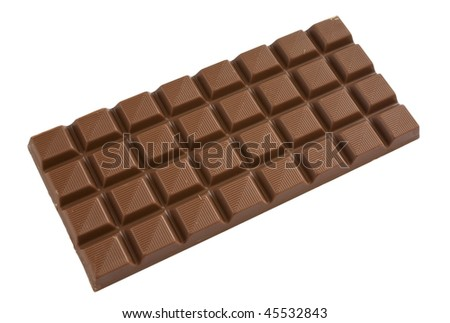 Milk chocolate bar isolated over a white background. - stock photo