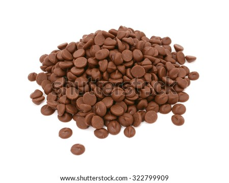 Milk chocolate chips in a pile, isolated on a white background - stock photo