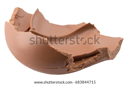 milk chocolate piece isolated on a white background