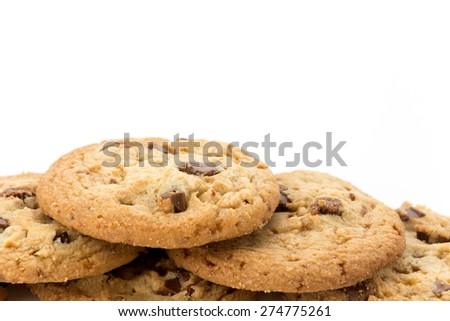 milk chocolate toffee almond cookies - stock photo