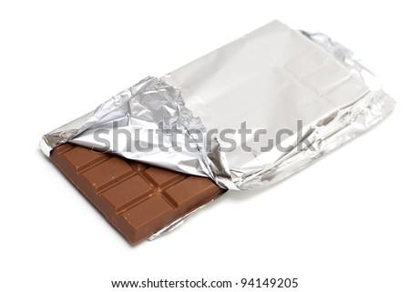 milk chocolate wrapped isolated on white - stock photo