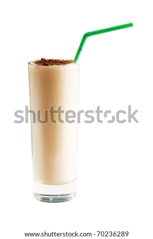 Milk cocktail with chocolate crumb over white background. Power clipping path included. - stock photo