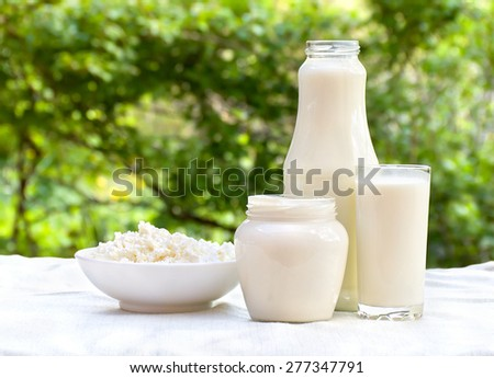 Milk, cottage cheese and sour cream on the table outdoor  - stock photo