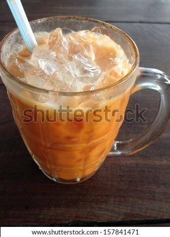 Milk ice tea on the table  - stock photo