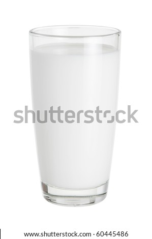milk in the glass on white background - stock photo