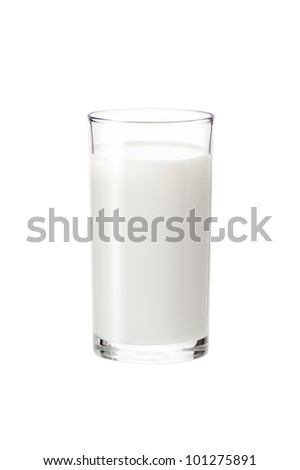 milk in the glass on white background, isolated