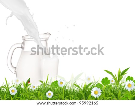 Milk jug and glass on the grass with chamomiles flowers over white