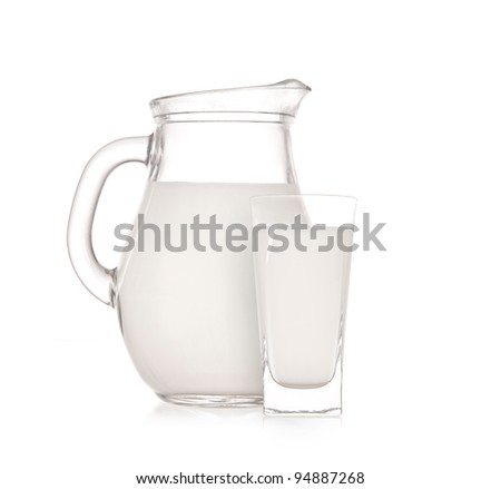 Milk jug with glass over white background - stock photo