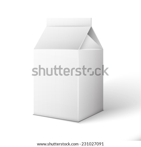 Milk, Juice, Beverages, Carton Package Blank White On White Background Isolated. - stock photo