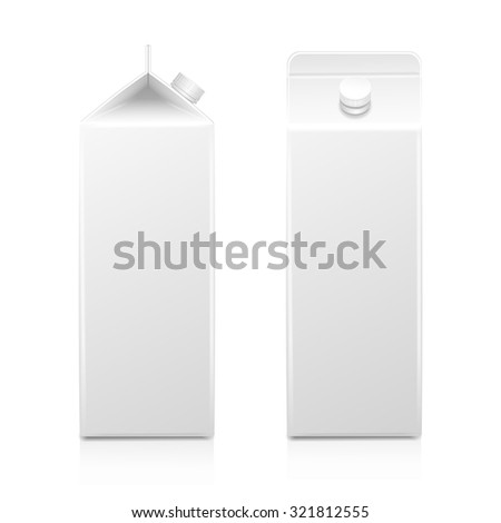 Milk Juice Carton Packaging Package Box  White Blank Isolated Set  - stock photo