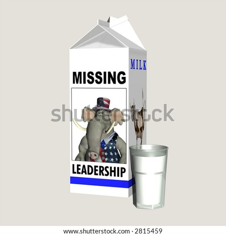 Milk - Missing Republican Leadership. Republican represented by an elephant on a milk carton. Political humor. Isolated on a solid background. - stock photo