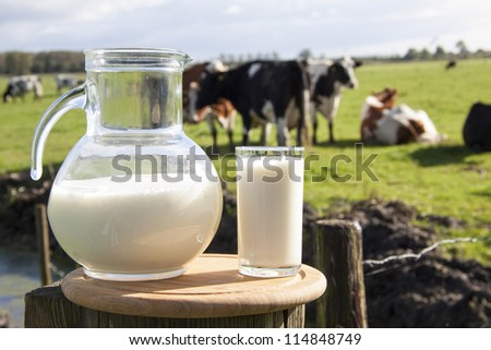 Milk on wooden plate with cows on the background