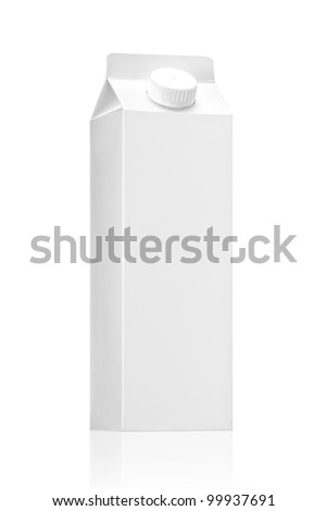 Milk or juice pack - Realistic photo image., package of Milk or juice isolated on white background - stock photo