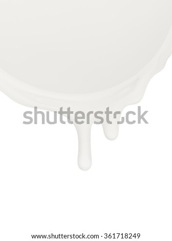 Milk or other dairy product flowing on a white background - stock photo