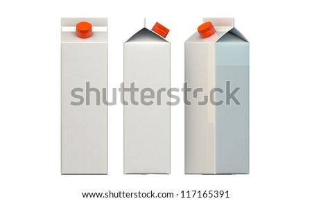 milk package isolated on white background - stock photo