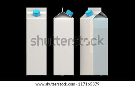 milk packages with blue cap isolated on black background