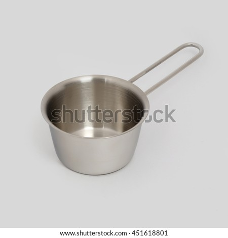 Milk Pan Stainless Steel. Isolated on grey background - stock photo