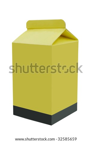 Milk paper carton isolated in white background - stock photo