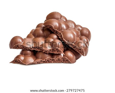 Milk porous chocolate isolated on white background - stock photo