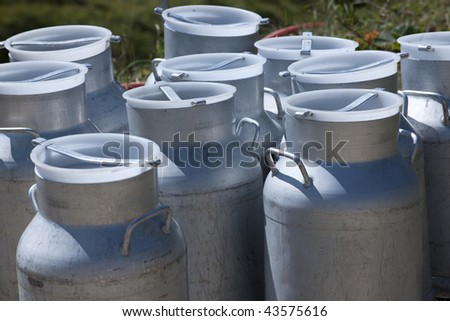 Milk Pots in mountain,  french Alps, Beaufortain, Areches