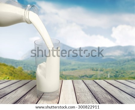 Milk, pour, white. - stock photo