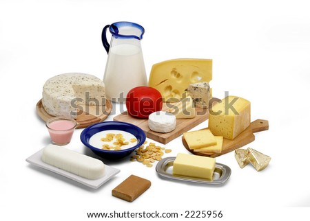milk products isolated on white still life - stock photo