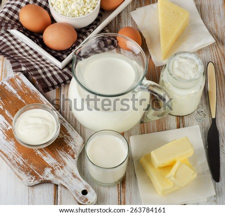 Milk products on  wooden table. Top view - stock photo