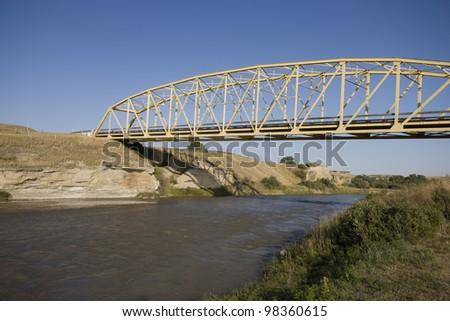 Milk River Alberta Badlands Alberta Southern Canada - stock photo