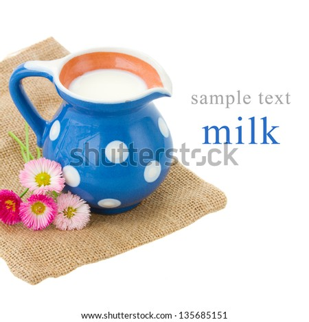 milk served in pitcher  isolated on white background - stock photo