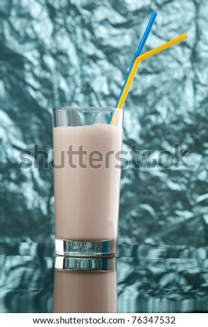 Milk shake  on blue background