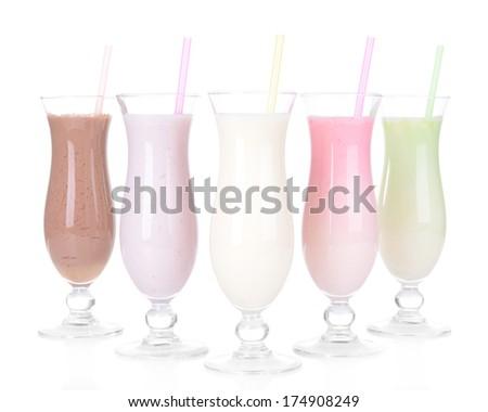Milk shakes isolated on white - stock photo