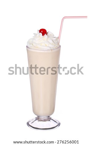 milk shakes vanilla flavor with cherry and whipped cream isolated on white background