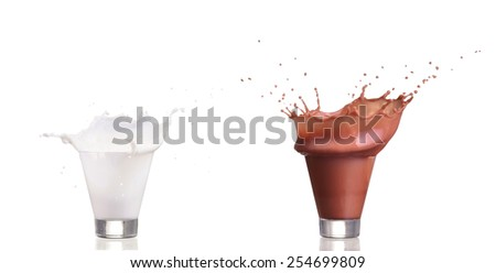 Milk splash and chocolate cacao splash in a glass isolated on white background - stock photo