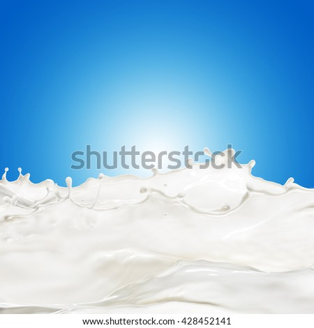 Milk Splash and Wave On Blue Background - stock photo