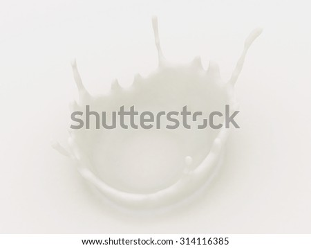 Milk Splash. 3D render illustration - stock photo
