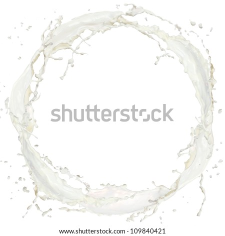 Milk splash isolated on white - stock photo