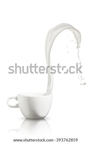 Milk Splash On White Background - stock photo