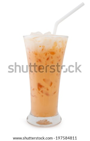 stock photo milk tea isolated on white background 197584811   Iced Coffee Thai Iced Tea With Iced Chocolate Royalty Free Stock Photo Image